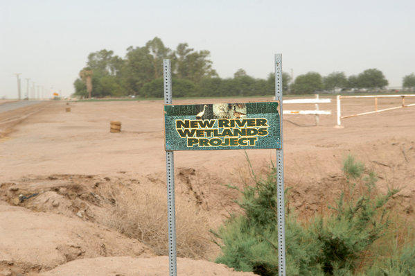 A sign of New River Wetlands Project sits at the entrance to the Imperial Wetland west of Imperial on Thursday. 