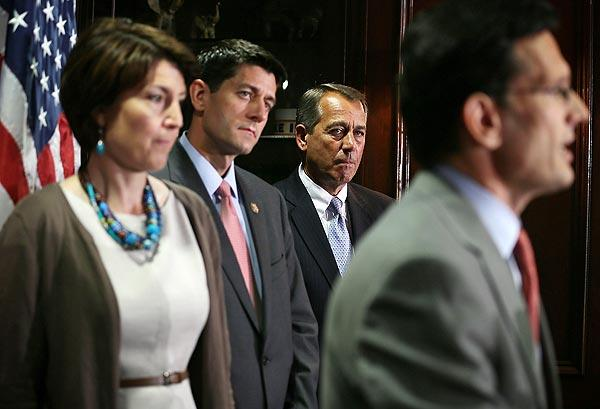 Rep. Paul Ryan joins Speaker John Boehner and Rep. Cathy McMorris Rodgers as they listen to House Majority Leader Eric Cantor at a news conference.