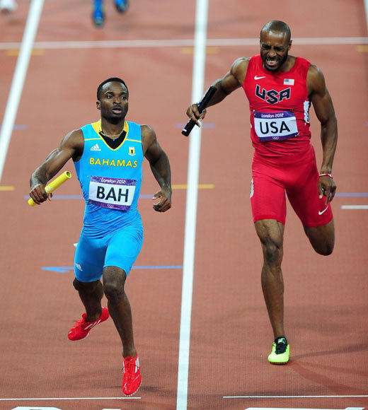 2012 Summer Olympics Best and Worst moments: The U.S. dominance in the mens 4x400-meter relay came to an end Friday night (Aug. 10) when the Bahamanian relay team edged out the U.S. runners in the last leg to take gold. The U.S. has won the gold in this event every year since 1976 (excluding the 1980 games that the U.S. boycotted).  But congratulations to the Bahamas -- this is the countrys first medal of the 2012 Summer Olympics.  -- Andrea Reiher, Zap2it