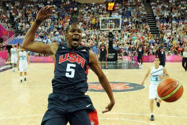 Kevin Durant is currently playing for the U.S. at the London Olympics.