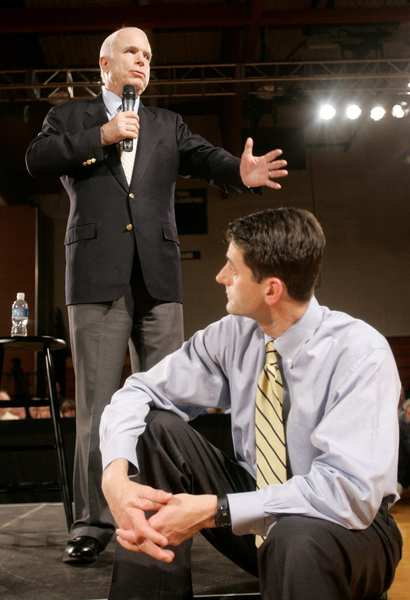 Paul Ryan's past: Sen. John McCain, R-Ariz., left, campaigns at a town hall meeting with Rep. Paul Ryan, R-Wisc., at Greendale Martin Luther High School in Greendale, Wisc.