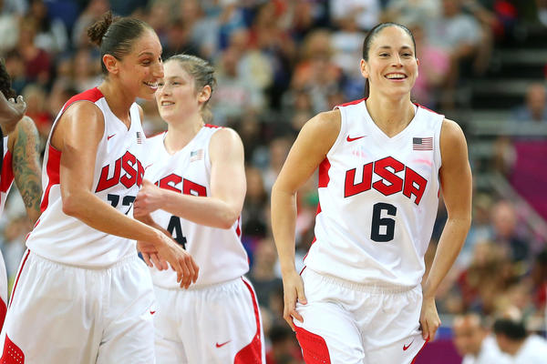 (L-R) Diana Taurasi #12 and Sue Bird #6 of United States react against France during the Women's Basketball Gold Medal game on Day 15 of the London 2012 Olympic Games at North Greenwich Arena on August 11, 2012 in London, England.