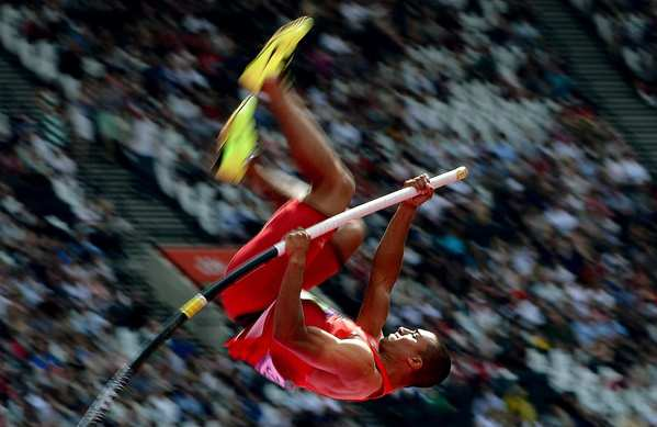Ashton Eaton won gold in the men's decathlon. The decathlon has 10 events: 1,500-meter race, javelin throw, pole vault, discus throw, 110m hurdles, 400m race, high jump, shot put, long jump and 100m race.