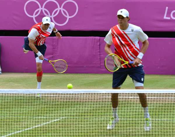 Brothers Mike, left, and Bob Bryan won gold in men's doubles tennis.