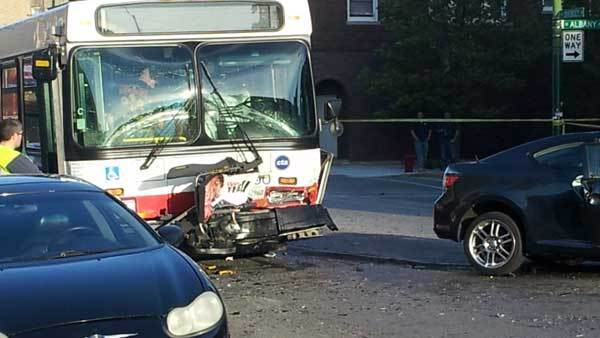 Bus damaged during a fatal head-on crash.