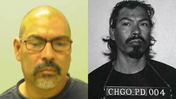 Booking photos of Jose Hernandez Saldana in 2012, left, and 1994, right.