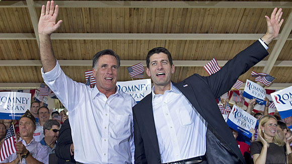 Republican presidential candidate Mitt Romney, left, and his running mate, Rep. Paul Ryan, at a rally in Manassas, Va.