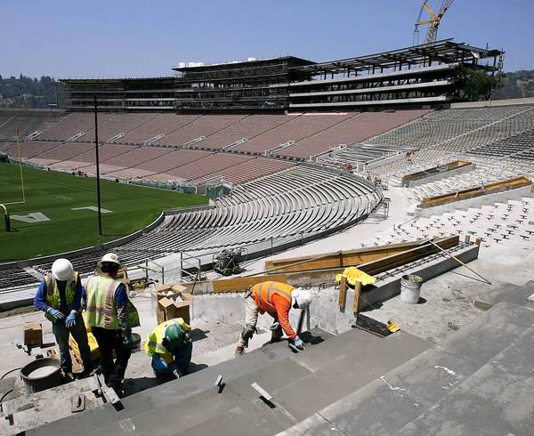 The Rose Bowl is undergoing a $179-million renovation. Pasadena may host an NFL team there while a permanent stadium is built elsewhere in the region.