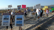 Dozens head out to protest wind farm project in Ocotillo