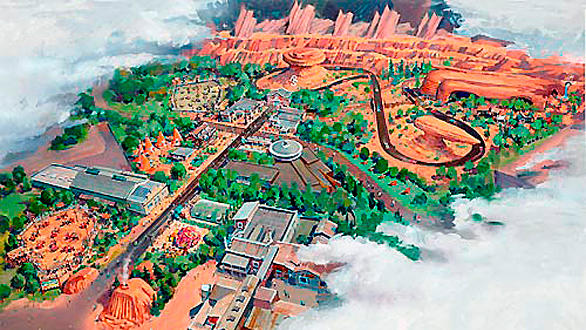 An artist rendering of Cars Land, coming to Disney California Adventure in 2012.