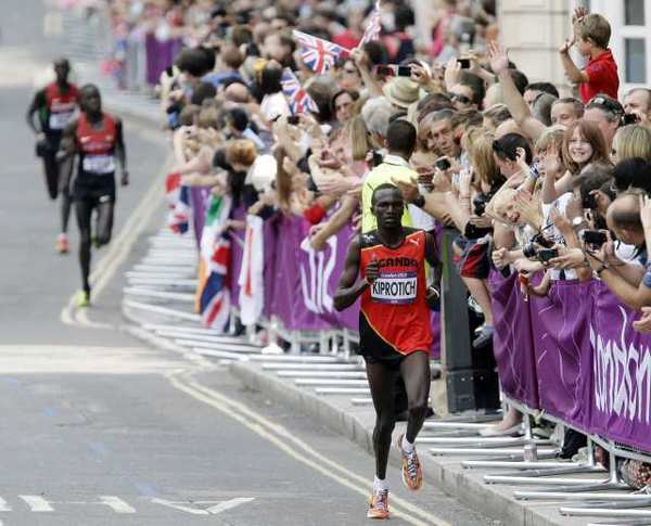 Stephen Kiprotich leads the way in the men's marathon.