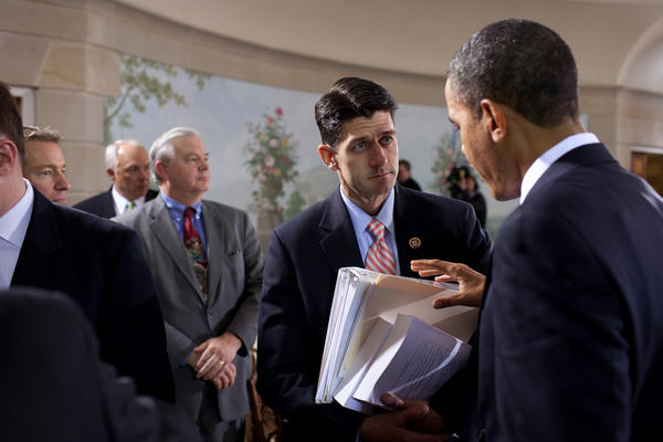 Paul Ryan's past: President Obama talks with Rep. Paul Ryan, (R-Wisc.), during the nationally televised bipartisan meeting on health insurance reform at Blair House in Washington, D.C.