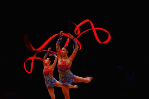 Bulgaria performs during the group all-around rhythmic gymnastics final rotation. Russia won the gold.