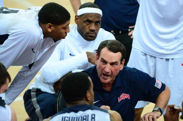 U.S. coach Michael Krzyzewski gives his team instructions during  the men's final basketball game at the 2012 London  Olympics.