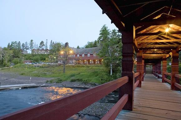 The Lutsen Resort and covered bridge on Lake Superior