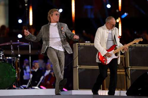 Roger Daltrey, left, and Pete Townshend of The Who perform during the closing ceremony.