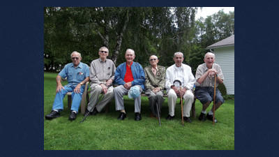 Six members of the Last Man's Club met on Sunday for their annual picnic at Eddie Zorn's home on Old Mill Road near Berlin. They are from left: Eddie Zorn, Bill Shultz, John Baker, Paul Thomas, Chuck Robb and Richard Musser. The club that once formed with 83 World War II veterans in 1987 now has 17 remaining members.