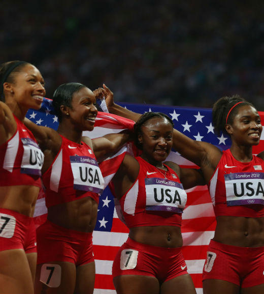 Tianna Madison, Allyson Felix, Bianca Knight, and Carmelita Jeter won gold in the 4 x 100m relay event on August 10 setting a new world record. Lauryn Williams and Jeneba Tarmoh also took gold by running in the event's preliminaries.
