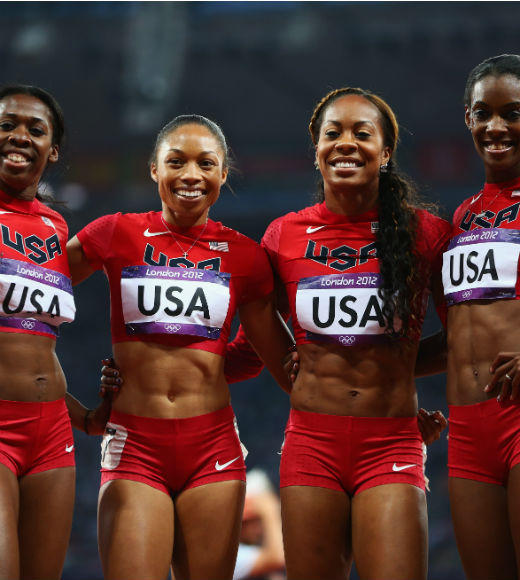 London 2012: Team USA's Gold Medalists: Allyson Felix, Sanya Richards-Ross, Dee Dee Trotter, and Francena McCorory won gold in the Womens 4 x 400 m relay on August 11. Keshia Baker and Diamond Dixon also earned gold running in the preliminaries of the event.