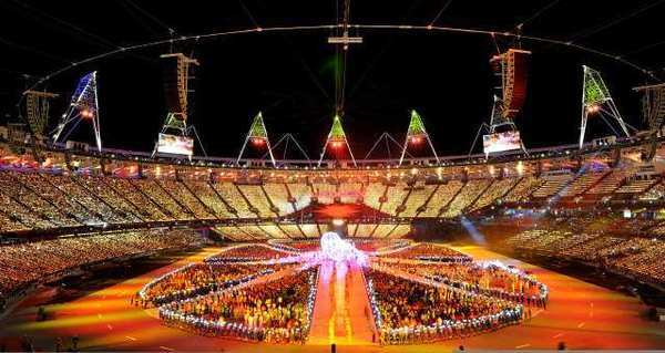 A view of the festivities at Olympic Stadium during the closing ceremony of the 2012 London Olympics.