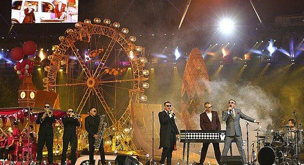 Madness performs at the London 2012 Olympics closing ceremony at Olympic Stadium.