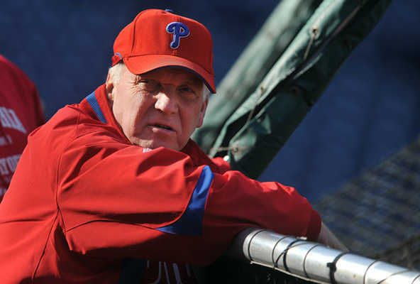 Philadelphia Phillies' manager Charlie Manuel watches batting practice during practice on Monday, October 26, 2009 at Citizen's Bank Park. The Phillies take on the New York Yankees in the World Series starting on Wednesday.