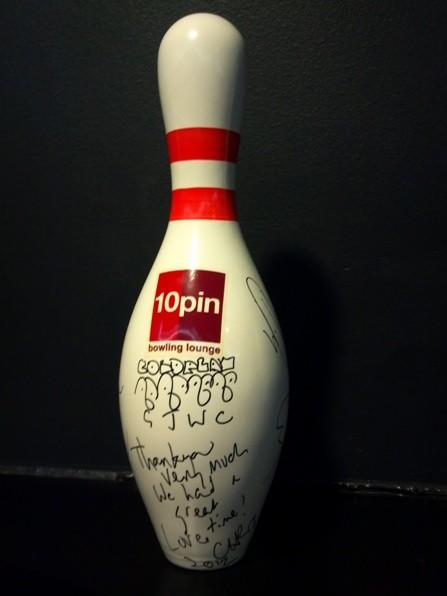 A bowling pin signed by all four members of Coldplay at 10pin Bowling Lounge August 9, 2012.