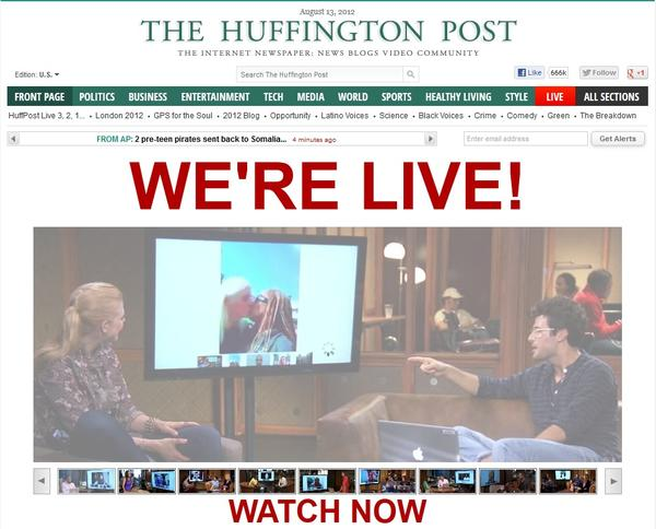 Homepage screenshot of HuffPost launching its live video programming.