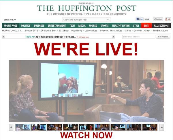 Homepage screenshot of HuffPost launching its live video programming.