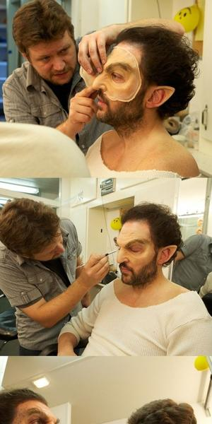 """Grimm"" star Silas Weir Mitchell has had to wear the full Monroe Blutbad makeup only once, he said, the rest of the time the look is achieved through CGI. These images show the makeup process."
