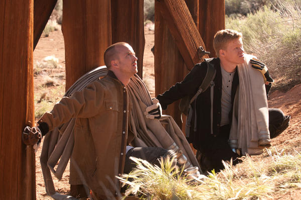 "Jesse Pinkman (Aaron Paul) and Todd (Jesse Plemons) on ""Breaking Bad."""