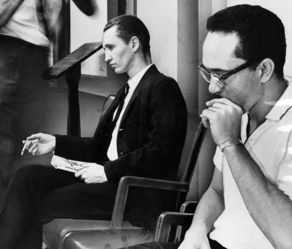 Gregory Powell, left, and his co-defendant, Jimmy Lee Smith, during their murder trial in July 1963.