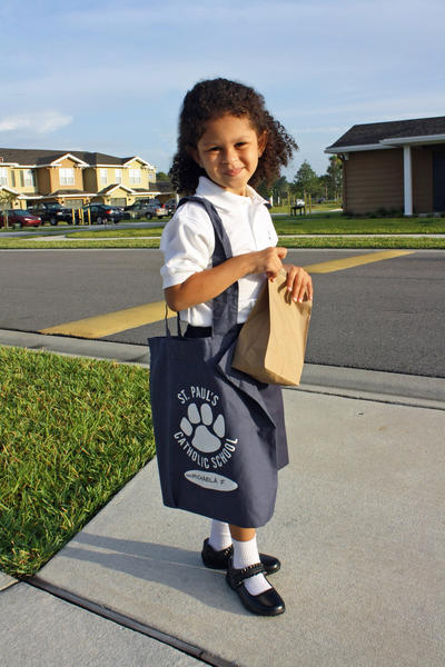 My daughter started Pre-K today at St. Paul's Catholic School.