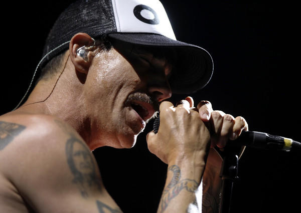 Lead vocalist Anthony Kiedis of the Red Hot Chili Peppers performs at Staples Center on Aug. 12, 2012.