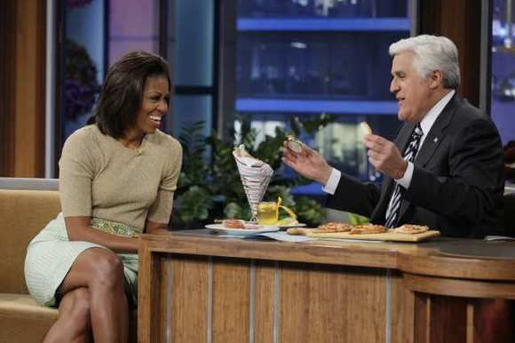 "Michelle Obama in January on ""The Tonight Show With Jay Leno."""