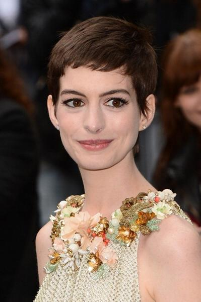 "For her role as Fantine in the film adaptation of ""Les Miserables,"" Hathaway cut off her hair to truly get into character. She said the experience reduced her to ""a mental patient level of crying: I was inconsolable."""