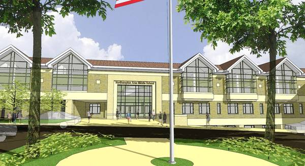 Artist rendering of new middle school planned in Northampton Area School District.