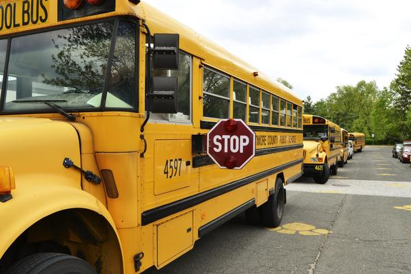 Buses await students in Baltimore County.