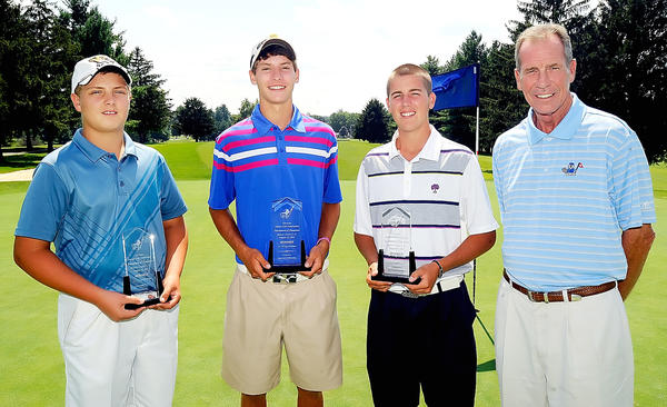 From left to right, Monday's winners in the Tri-State Junior Golf Association's Tournament of Champions at Beaver Creek Country Club were Karsen Rush (ages 12-13), Niklas Steiner (14-15) and Ryan Crabtree (16-18). At right is Tri-State Junior Golf Association director Bill Hoffman.