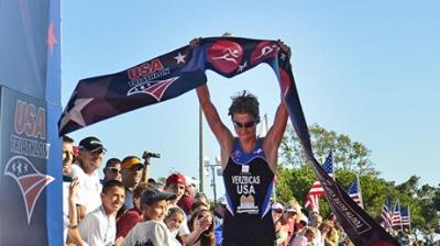 Lukas Verzbicas winning the U.S. junior triathlon title.