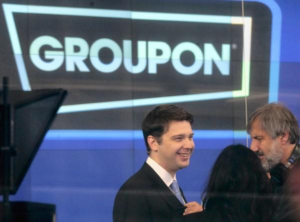 "CEO Andrew Mason, left, said Chicago-based Groupon had ""a solid quarter despite challenges in Europe."""