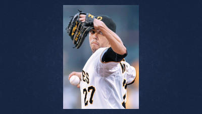 Pittsburgh Pirates starting pitcher Jeff Karstens throws against the Los Angeles Dodgers in the first inning of a baseball game Monday in Pittsburgh.