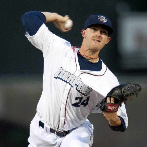 The IronPigs' Tyler Cloyd pitches against the Rochester Red Wings at Coca-Cola Park in Allentown on Monday.