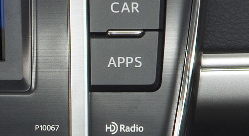 The Apps button is the access point for Toyota  in-car mobile applications such as Bing internet search, OpenTable for restaurant reservations, Pandora internet radio and movietickets.com. The integration is part of its Entune multimedia system paired with navigation and an upgraded stereo on SE and XLE trim levels.