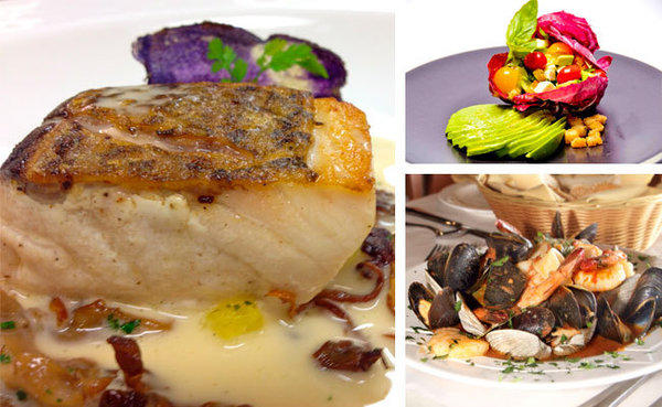 Left, Courtright's Seared Striped Bass with Pineapple. Above right, Bruschetta Salad creatively presented by Tallgrass. Below right, Outrigger's Seafood Cioppino.