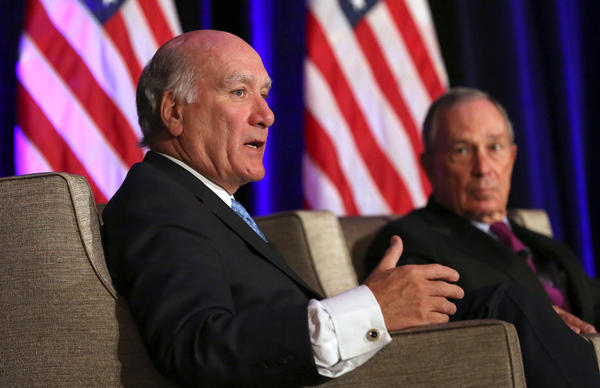 Former White House Chief of Staff William Daley and New York City Mayor Michael Bloomberg discuss economics and politics of immigration during a the Economic Club of Chicago meeting at the Hilton Chicago.