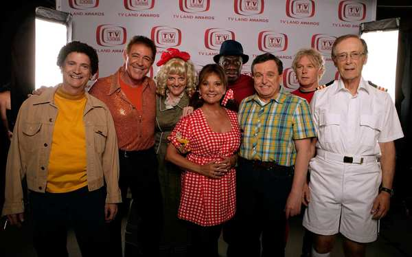 Actors Ron Palillo, Barry Williams, Alison Arngrim, Dawn Wells, Jimmie Walker, Jerry Mathers, William Katt and Bernie Kopell pose for a portrait during the sixth annual TV Land Awards held at Barker Hangar in Santa Monica.