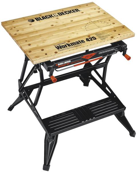 If you're short on space for repair and carpentry projects, consider a fold-up helper like Black and Decker's Workmate or Rockwell's Jawhorse. An alternative is to make your own bench with a pair of sawhorses. Build your own from 2-by-4s, or use stock lumber and metal connectors like Crawford Sawhorse Brackets (less than $6), or fold-up steel models (closer to $25) like Wilmar steel sawhorses. Fold-ups store easily, and you can slide a work surface like a sheet of plywood onto the ceiling joists.