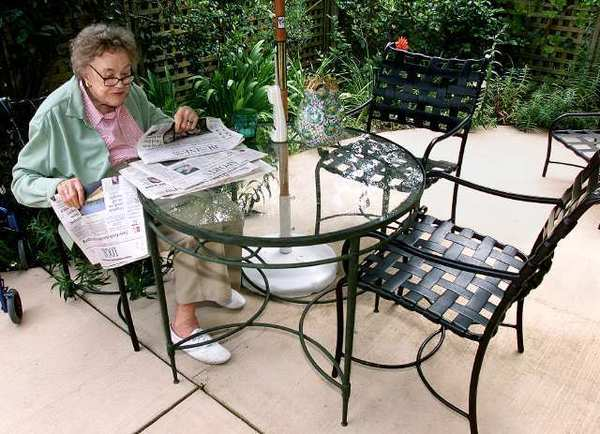 Julia Child at her retirement home in Montecito in 2002