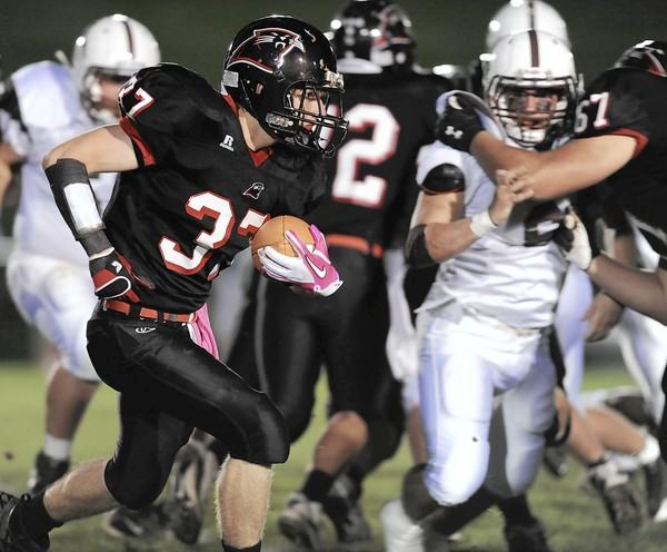 Saucon Valley #37, Matt Laub carries the ball in a football game against Catasauqua held at Saucon Valley High School on Friday, September 30, 2011.